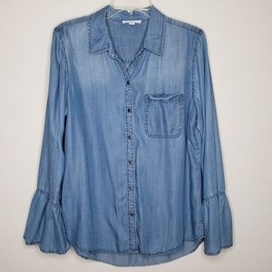 Beach Lunch Lounge Chambray Bell Sleeve Blouse Top